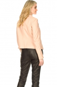 STUDIO AR BY ARMA :  Leather biker jacket with zip details Cherry | nude - img7
