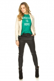 STUDIO AR BY ARMA :  Leather biker jacket with zip details Cherry | natural - img3