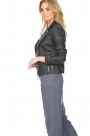 STUDIO AR |  Leather biker jacket with zip details Cherry | blue  | Picture 6