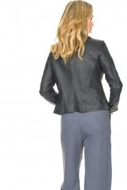 STUDIO AR |  Leather biker jacket with zip details Cherry | blue  | Picture 8