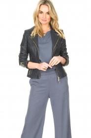 STUDIO AR |  Leather biker jacket with zip details Cherry | blue  | Picture 5