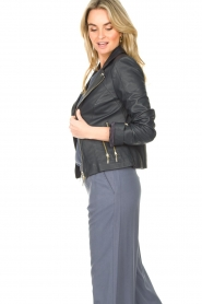 STUDIO AR |  Leather biker jacket with zip details Cherry | blue  | Picture 7