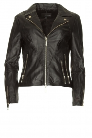STUDIO AR BY ARMA |  Leather biker jacket with zip details Cherry | black