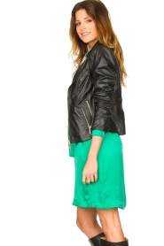 STUDIO AR BY ARMA :  Leather biker jacket with zip details Cherry | black - img6