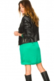 STUDIO AR BY ARMA :  Leather biker jacket with zip details Cherry | black - img7