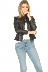 STUDIO AR BY ARMA |  Leather biker jacket Tuya | black  | Picture 5