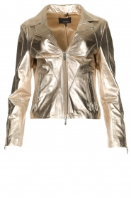 STUDIO AR BY ARMA |  Metallic biker jacket Cherry | gold