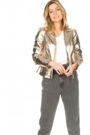 STUDIO AR BY ARMA |  Metallic biker jacket Cherry | gold  | Picture 2