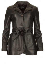STUDIO AR BY ARMA |  Leather blazer with belt Nora | black  | Picture 1