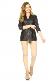STUDIO AR BY ARMA |  Leather blazer with belt Nora | black  | Picture 3