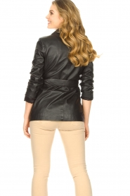 STUDIO AR BY ARMA |  Leather blazer with belt Nora | black  | Picture 7
