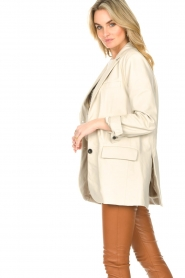 STUDIO AR BY ARMA |  Leather long blazer Luna | natural  | Picture 6