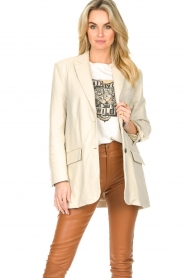 STUDIO AR BY ARMA |  Leather long blazer Luna | natural  | Picture 5