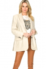 STUDIO AR BY ARMA |  Leather long blazer Luna | natural  | Picture 2