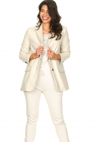 STUDIO AR BY ARMA :  Leather long blazer Luna | natural - img5