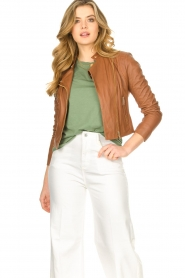 STUDIO AR BY ARMA |  Short leather jacket Gaga | camel  | Picture 2