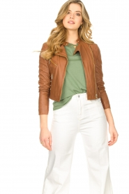 STUDIO AR BY ARMA |  Short leather jacket Gaga | camel  | Picture 4