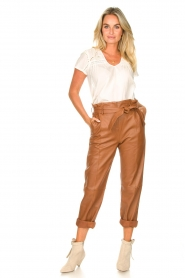 STUDIO AR BY ARMA |  Leather paperbag pants Clarie | camel  | Picture 3