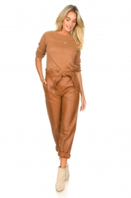 STUDIO AR BY ARMA |  Leather paperbag pants Clarie | camel  | Picture 10