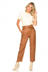 STUDIO AR BY ARMA |  Leather paperbag pants Clarie | camel  | Picture 9