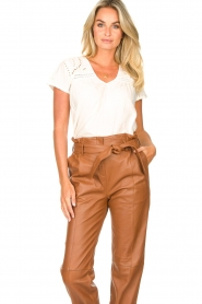 STUDIO AR BY ARMA |  Leather paperbag pants Clarie | camel  | Picture 5