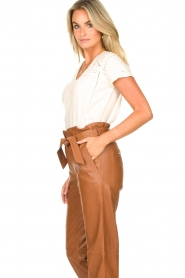 STUDIO AR BY ARMA |  Leather paperbag pants Clarie | camel  | Picture 6