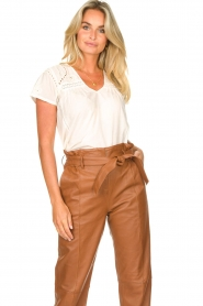 STUDIO AR BY ARMA |  Leather paperbag pants Clarie | camel  | Picture 2