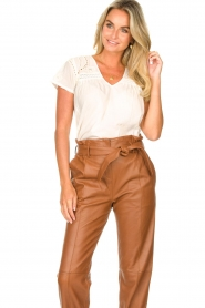 STUDIO AR BY ARMA |  Leather paperbag pants Clarie | camel  | Picture 4