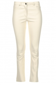 STUDIO AR BY ARMA |  Stretch leather kick flare pants Eva | natural