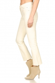 STUDIO AR BY ARMA |  Stretch leather kick flare pants Eva | natural  | Picture 5