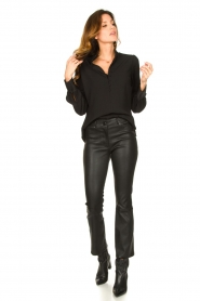 STUDIO AR BY ARMA |  Stretch leather kick flare pants Eva | black  | Picture 2