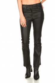 STUDIO AR BY ARMA |  Stretch leather kick flare pants Eva | black  | Picture 4