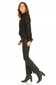 STUDIO AR BY ARMA |  Stretch leather kick flare pants Eva | black  | Picture 3