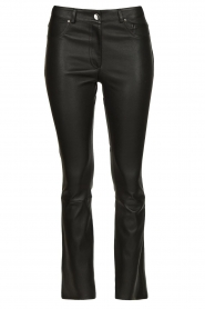 STUDIO AR BY ARMA |  Stretch leather kick flare pants Eva | black  | Picture 1