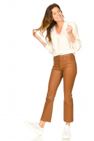 STUDIO AR BY ARMA |  Leather stretch cropped pants Eva | camel  | Picture 2