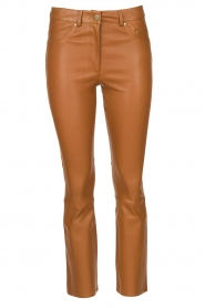 STUDIO AR BY ARMA |  Stretch leather kick flare pants Eva | camel  | Picture 1