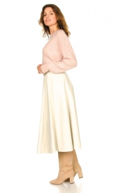 STUDIO AR BY ARMA |  Lamb leather midi skirt Romee | naturel  | Picture 4