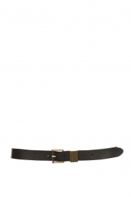 The Kaia |  Leather belt with golden buckle Polly | black  | Picture 1