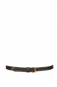 The Kaia |  Leather belt with rose details | zwart  | Picture 1