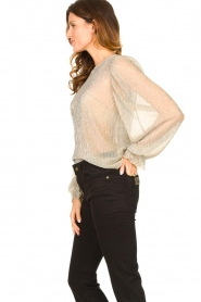 Lolly's Laundry |  See-through top with lurex Bar | gold  | Picture 5