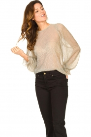 Lolly's Laundry |  See-through top with lurex Bar | gold  | Picture 4