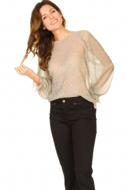Lolly's Laundry |  See-through top with lurex Bar | gold  | Picture 2