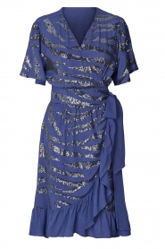 Lolly's Laundry |  Wrap dress with sequins Anka | blue  | Picture 1