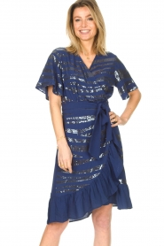 Lolly's Laundry |  Wrap dress with sequins Anka | blue  | Picture 5