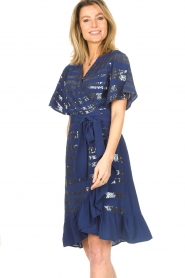 Lolly's Laundry |  Wrap dress with sequins Anka | blue  | Picture 4