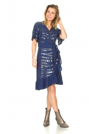Lolly's Laundry |  Wrap dress with sequins Anka | blue  | Picture 3