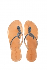 Laidback London |  Leather flip flop Lana | grey  | Picture 1