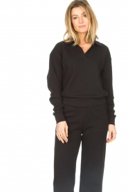 Lune Active |  Cotton sweater Camilla | black  | Picture 4