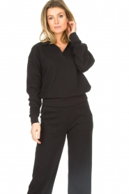 Lune Active |  Cotton sweater Camilla | black  | Picture 2