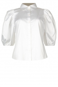 Notes Du Nord |  Strech blouse with puff sleeves Kira | white  | Picture 1